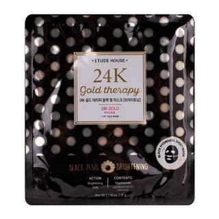 Etude House 24K Gold Therapy Black Pearl Mask - Brightening 1pc
