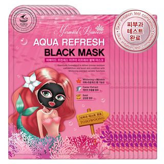 Tosowoong Mermaid Princess Aqua Refresh Black Mask 10pc 10sheets