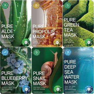 Tosowoong Pure Green Tea Mask Pack 10pcs 10sheets
