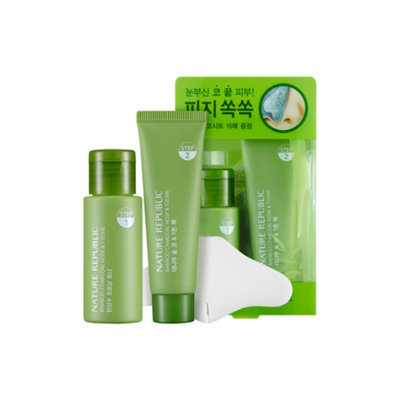Nature Republic Bamboo Charcoal Nose & T-zone Pack: Toner 33ml + Pack 25ml 33ml + 25ml