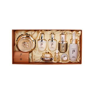 The History of Whoo - Hwa Hyeon Special Set: Cream 60ml + Balancer 25ml + Lotion 25ml + Essence 8ml + Eye Cream 5ml + Gold Ampoul 5ml + Wild Ginseng Ampule Oil 5ml + Cleansing Foam 50ml + Cotton Pad 1pc 9pcs