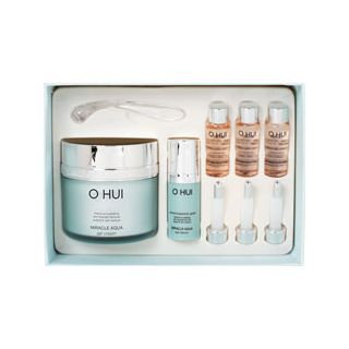 O Hui Miracle Aqua Gel Cream Special Set: Gel Cream 100ml + Eye Serum 10ml + Miracle Moisture Ampoule 777 7ml x 3pcs 5pcs