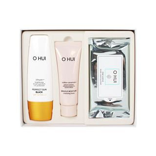 O Hui Perfect Sun Black Special Set: Perfect Sun Black SPF 50+ PA+++ 50ml + Cleansing Foam 40ml + Clear Science Tender Cleansing Sheet 5sheets 3pcs