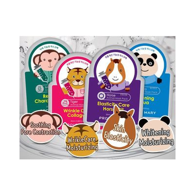 PROUD MARY - Animal Mask Pack 1pc (4 Types) Monkey (Relaxing Charcoal & Aloe)