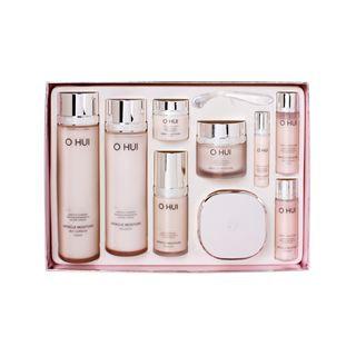 O HUI - Miracle Moisture Special Gift Set: Skin Softener 150ml + 20ml +Emulsion 130ml + 20ml + Essence 20ml + 3ml + Cream 20ml + 7ml + Chiffon Cushion SPF50+ PA+++ (#01 Cool Vanilla Beige) 15g 9pcs