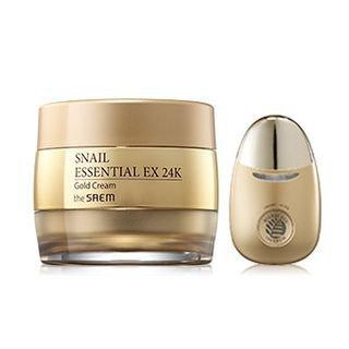 The Saem - Snail Essential EX 24K Gold Cream Set: Cream 50ml + Facial Massage Applicator 1pc 2pcs