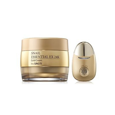 The Saem - Snail Essential EX 24K Gold Cream Set: Cream 50ml + Facial Massage Applicator 1pc 2pcs