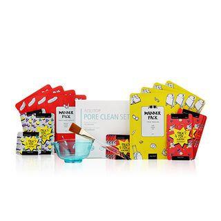 AQUTOP - Pore Clean Set: Manner Pack 20ml x 8pcs + Talktox Clay Pack Red 7ml x 4pcs + 2ml x 4pcs + Clay Pack Tourmaline 7ml x 4pcs + 2ml x 4pcs + Pack Brush + Pack Bowl 26pcs