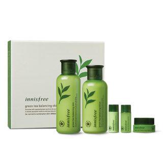 Innisfree - Green Tea Balancing Special Skin Care Set: Skin 200ml + 15ml + Lotion 160ml + 15ml + Cream 5ml 5pcs