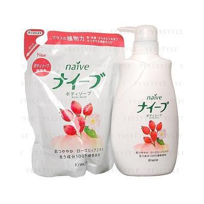 Kracie - Na ve Body Wash (Rose Hip) Set: Body Wash 580ml + Refill 420ml 2 pcs