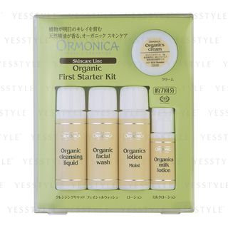 ORMONICA - Organic First Starter Kit: Cleansing Liquid 20ml + Facial Wash 20ml + Lotion Moist 20ml + Milk Lotion 10ml + Cream 6g 5 pcs