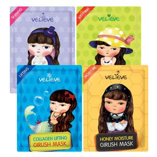 BELLAMONSTER - VELIEVE Girlish Mask (4 Types) 1pc Honey Moisture