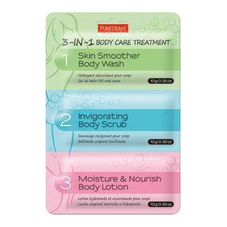 PUREDERM - 3-in-1 Body Care Treatment: Skin Smoother Body Wash 10g + Invigorating Body Scrub 10g + Moisture & Nourish Body Lotion 10g 30g