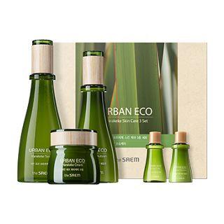 The Saem - Urban Eco Harakeke Skin Care Set: Toner 180ml + 20ml + Emulsion 140ml + 20ml + Cream 60ml 5pcs