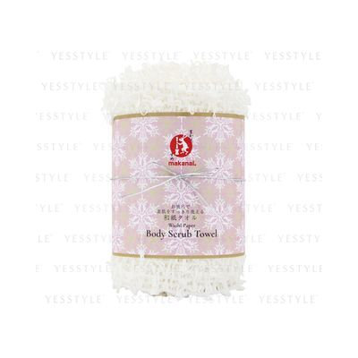 Makanai Cosmetics - Washi Paper Body Scrub Towel (White Snow Blossom) 1 pc
