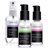 Best Anti Aging 3 Pack Skin Care System by YEOUTH, Professional Grade Hyaluronic Acid Serum, Patented L22 Face Moisturizer, and Balancing Face Toner - Anti Aging Serum Kit