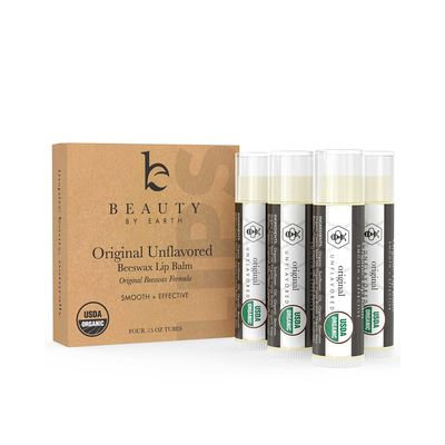 Beauty by Earth - Organic Unflavored Beeswax Lip Balm (4 Tubes in Pack) 4 Tubes in Pack