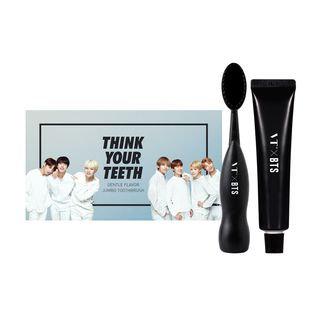 VT - VTxBTS Think Your Teeth Jumbo Kit Black: Toothbrush 1pc + Toothpaste 50g + Photocard 7pcs 3pcs