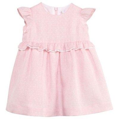 Pink Linen Frill Dress