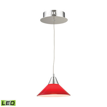 Elk International Cono 1 Light LED Pendant In Chrome With Red Glass