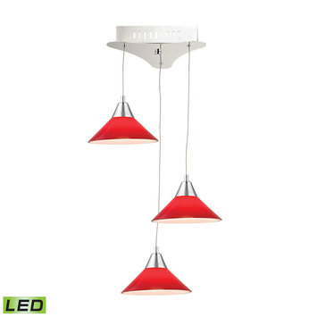 Elk International Cono 3 Light LED Pendant In Chrome With Red Glass