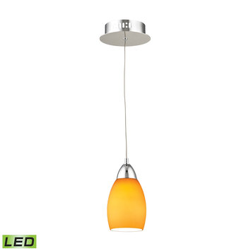 Elk International Buro 1 Light LED Pendant In Chrome With Yellow Glass