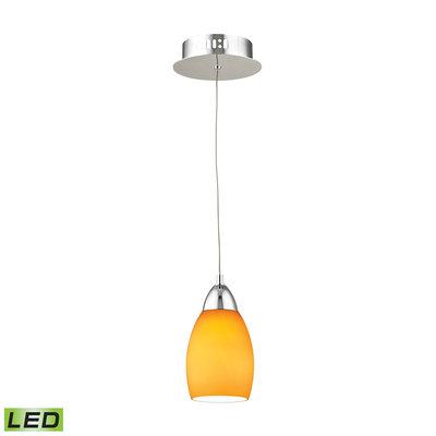 Elk International Buro 1 Light LED Pendant In Chrome With Yellow Glass