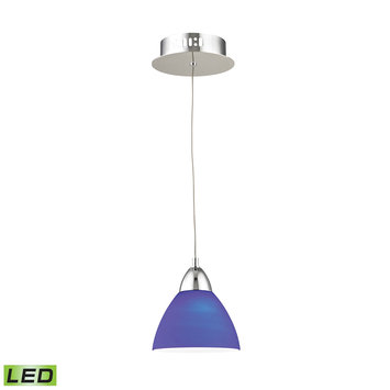 Elk International Piatto 1 Light LED Pendant In Chrome With Blue Glass