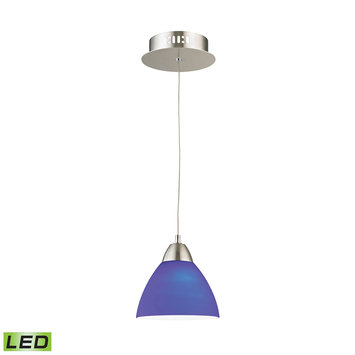 Elk International Piatto 1 Light LED Pendant In Satin Nickel With Blue Glass