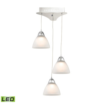 Elk International Piatto 3 Light LED Pendant In Chrome With White Glass