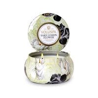 Voluspa Two Wick 11 oz. Metallo Candle, Sake Lemon Flower