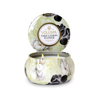Voluspa Two Wick 11 oz. Metallo Candle, Sake Lemon Flower