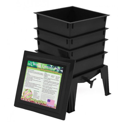 Natures FootPrint WF360BW Worm Factory 360 4 Tray with Worms - Black