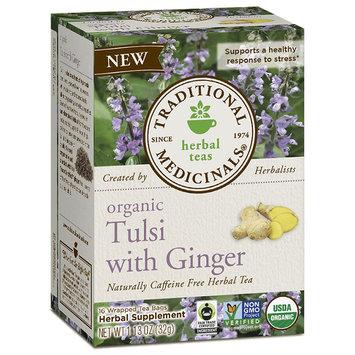 Organic Tulsi Tea with Ginger, 16 Tea Bags, Traditional Medicinals Teas
