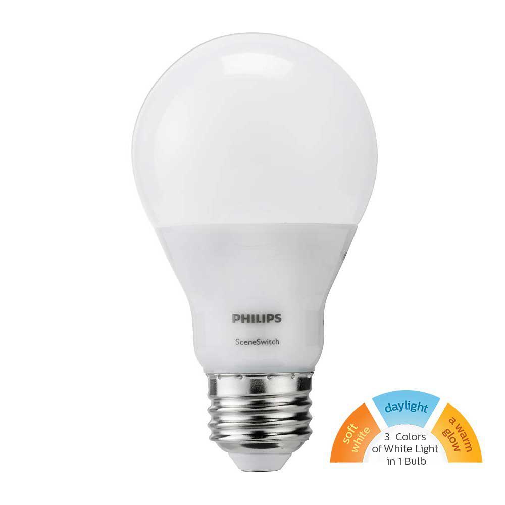 Philips 60W Equivalent Daylight/Soft White/Warm Glow Scene Switch A19 LED Light Bulb