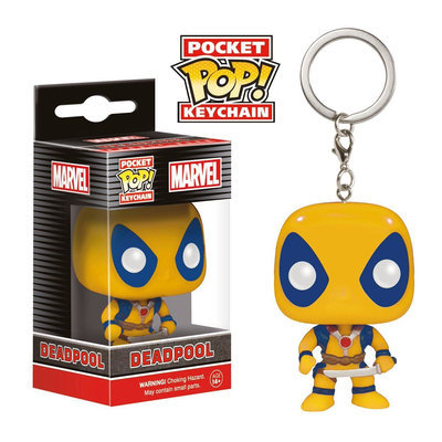 Funko Pocket POP! Keychain Marvel 1.5 inch Action Figure - Yellow Deadpool