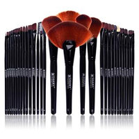 SHANY Professional Brush Set with Leather Pouch, 32 Count Goat & Badger