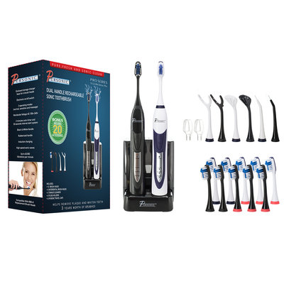 Supersonic Dual Handle Ultra High Powered Sonic Electric Toothbrush with Dock Charger, 12 Brush Heads & More-Black and White