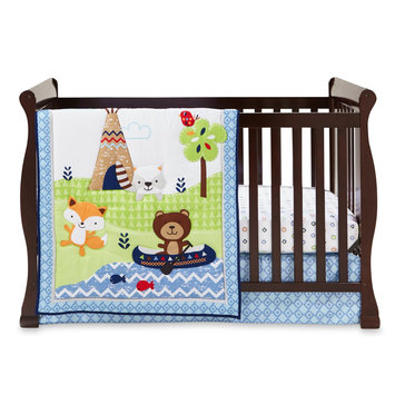 Triboro Quilt Mfg. Corp. Cuddletime Boys' Adventure Land 3-Piece Crib Set - Woodland Animals, Multi-Colored