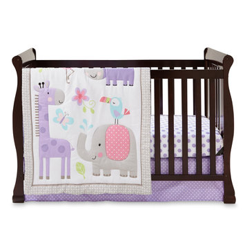 Triboro Quilt Mfg. Corp. Cuddletime Girls' Sweet Safari 3-Piece Crib Set - Animals & Polka Dots, Purple