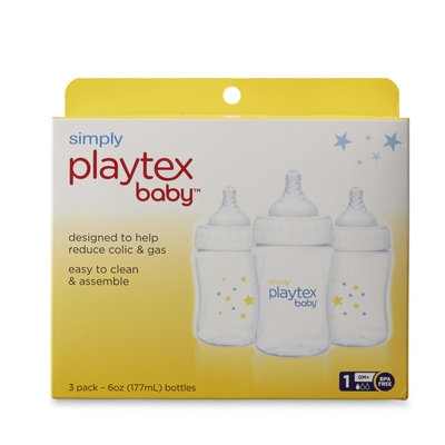 Playtex Infants' 3-Pack Bottles - Level 1, Clear