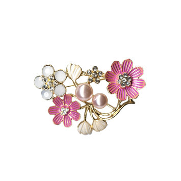 Tanya Creations, Inc. Jaclyn Smith Women's Goldtone Floral Brooch, Multi Color