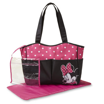 Cudlie Disney Baby Minnie Mouse Infant Girls' Diaper Bag & Changing Pad - Dots, Pink