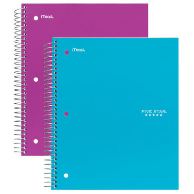 Mead Products Mead Five Star Notebook 3 Subject College Ruled 150 Sheets 1 notebook, Multi Color
