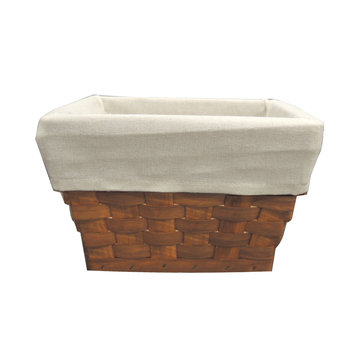 Allure Home Cannon Wood Small Storage Basket, Beige & Tan