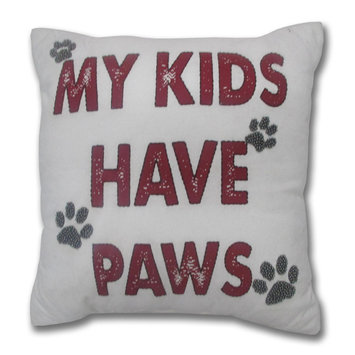David Shaw Silverware Na Ltd My Kids Have Paws Throw Pillow, Multi
