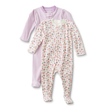 Dyer Development Little Wonders Infant Girls' 2-Pack Sleeper Pajamas - Striped & Heart, Size: Newborn, Pink