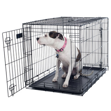 Trademark Global Llc PetMaker Large Folding 2 Door Dog Crate Cage 36 x 25 x 23 with Divider
