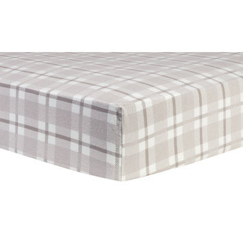 Test Trend Lab Gray and White Plaid Deluxe Flannel Fitted Crib Sheet