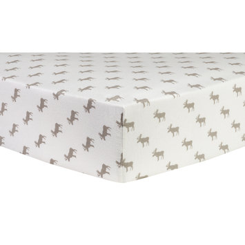Test Trend Lab Gray Moose Silhouettes Deluxe Flannel Fitted Crib Sheet